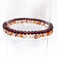 3pcs/Set Bracelets Natural Garnet White Agates Stone Women Men Yoga Girls Gift