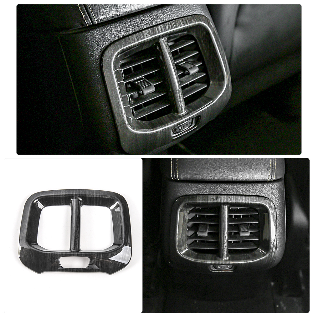 MOPAI Black Wood Color Interior Rear Seat Air Outlet Vent Decoration Cover ABS Sticker For Jeep Cherokee 2014 Up Car Styling цена