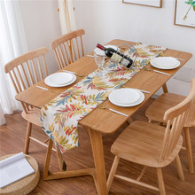 Nodic Leaf Printed Table Runner Flag Modern Tea Cover TV Cabinet Tablecloth Wedding Party Banquet Home Decoration