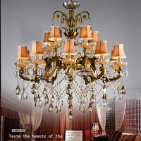 Hot Selling Big Crystal Chandelier Antique Brass Color hanging light Fitting Large Crystal Lustres Chandeliers for Hotel Project