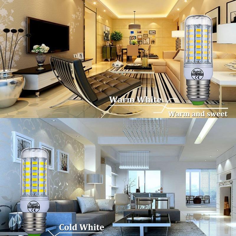 E27 LED Lamp E14 LED Bulb SMD5730 220V Corn Bulb 24 36 48 56 69 72LEDs Chandelier Candle LED Light For Home Decoration 6