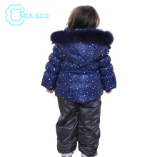 Winter Children Unisex Two-Piece For 2-7 Age Natural fox fur Hooded Down & Parkas Snowsuit Luxury Brand 1290