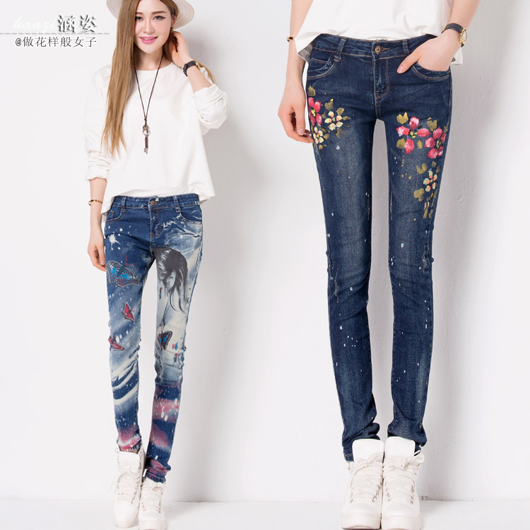 ФОТО 2017 Promotion Real Jeans For Women Print Trousers Female Elastic Pencil Pants Tight-fitting Jeans Long Casual Drawing Doodle
