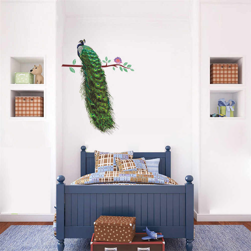 3d חי קיר מדבקות בית תפאורה אמנות מדבקות PVC פוסטר חיות טווס על סניף נוצות מדבקות קיר חדר קישוט