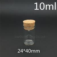 Free shipping 500pcs/lot 10ml 24*40mm Wishing Glass Bottle with Cork ,High-quality 10cc Glass Vials Display Bottle Wholesale