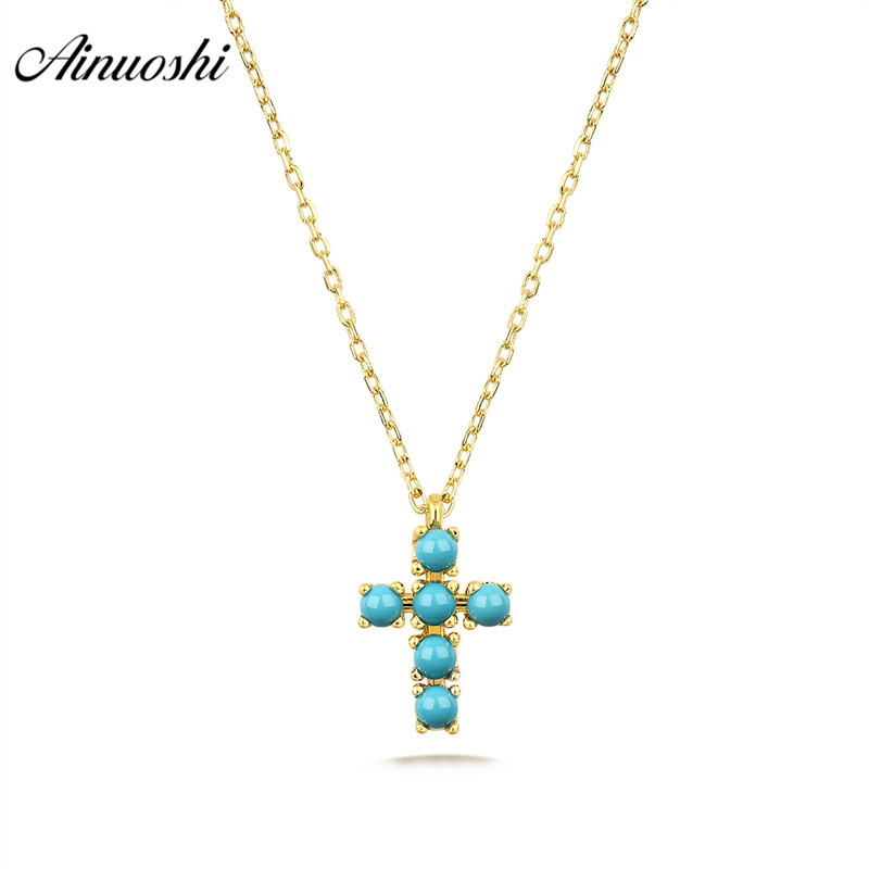 AINUOSHI 18K Pure Gold Vintage Turquoises Cross Necklace for Women Rose Yellow Gold Green Beads Charm Pendant Necklace Jewelry