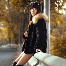 Free shipping new genuine real natural rabbit fur coat with large raccoon fur women fashion fur jacket custom plus size