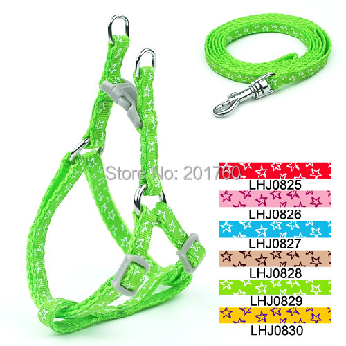 0.8cm pet supplies Dog Stars pattern Print Harness Leash Set (6 Colors) 12pcs/lot free s ...