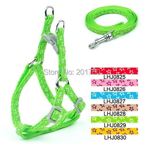 0.8cm pet supplies Dog Stars pattern Print Harness Leash Set (6 Colors) 12pcs/lot free shipping LHJ0825