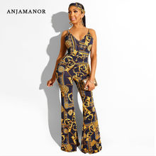 ANJAMANOR Chain Print One Piece Flare Leg Jumpsuit Sexy Women Clothes 2019 Sleeveless V Neck Tie Waist Long Rompers D48-AC90(China)