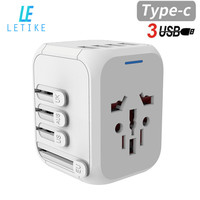 Letike Universal Travel Adapter with 3 usb +1 type C ports 5A Auto Resetting electrical Worldwide Wall Charger for UK/EU/AU