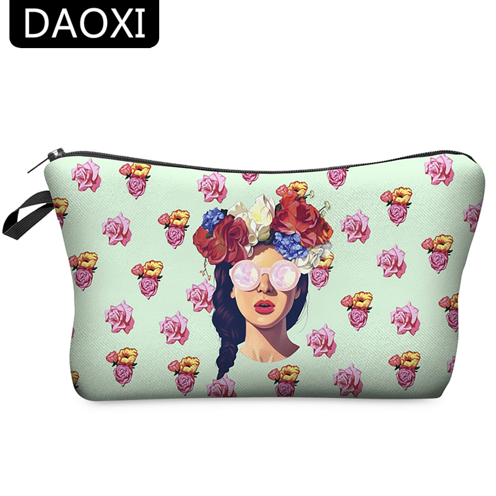 DAOXI 3D Printed Cosmetic Bags Women Necessaries for Makeup Travel Organizer with Zipper