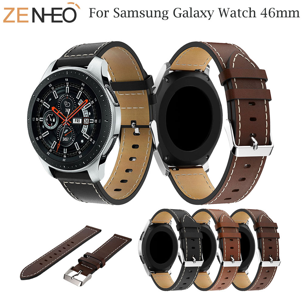 22mm Watchband Replacement Classic Leather Wrist Strap band For Samsung Galaxy Watch 46mm SM-R800 Smart Watch Band Wristband
