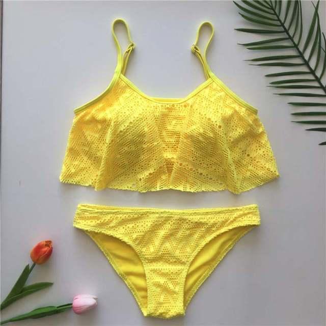 29b599d2db08 € 8.57 32% de DESCUENTO Traje de baño de mujer con volantes de malla  amarilla bañador Bikini Push Up de playa 2019 Sexy traje de baño de talla  ...