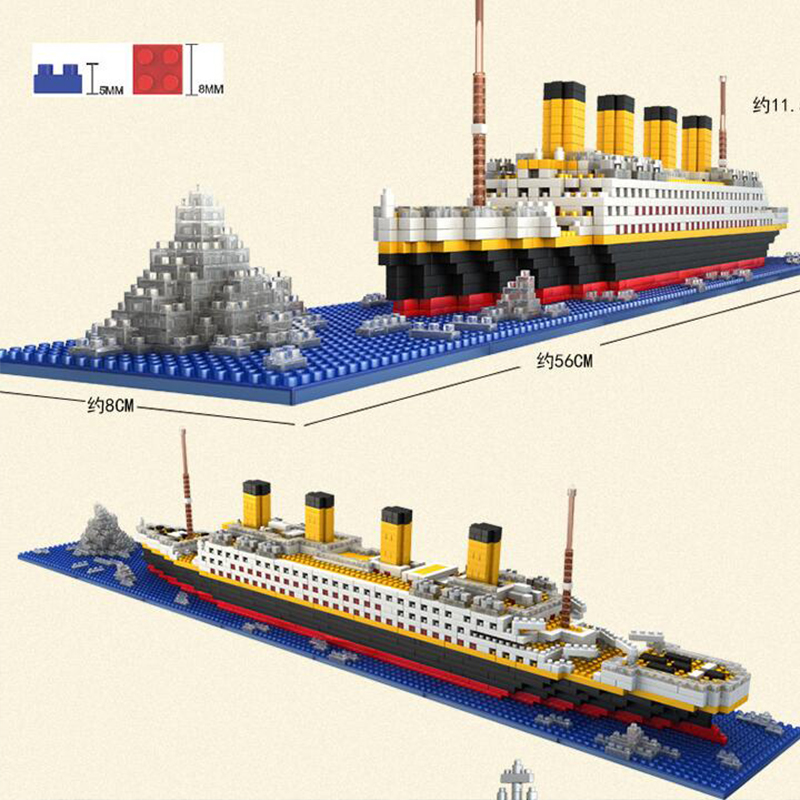 1860 pièces diamant Compatible légosement Titanic blocs construction bateau modèle bateau Kit enfants jouets RS Titanic bateau de croisière LOZ cadeaux de noël