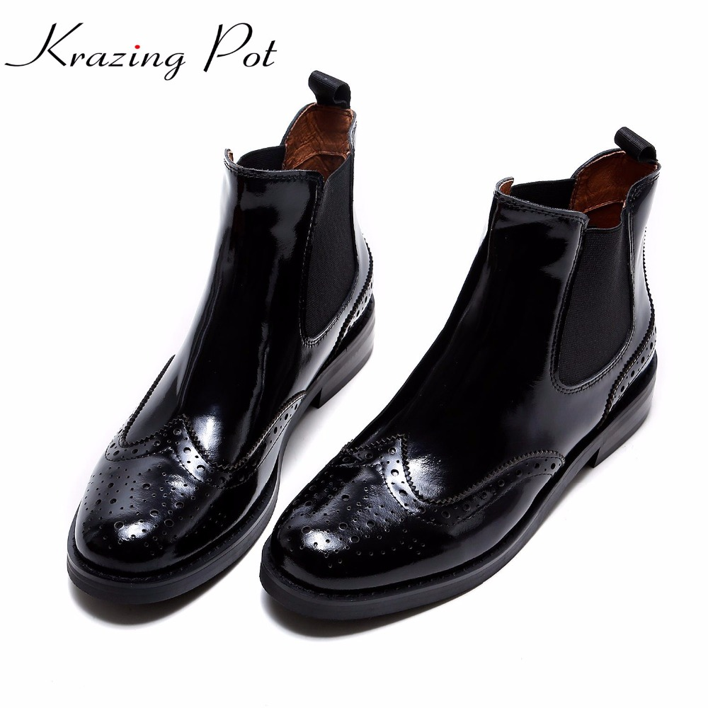 Krazing Pot full grain leather Chelsea boots hollow patterns keep warm round toe square low heels concise style  ankle boots L08 fashion genuine leather chelsea boots handmade keep warm winter boots round toe thick heels concise ankle boots for women l08