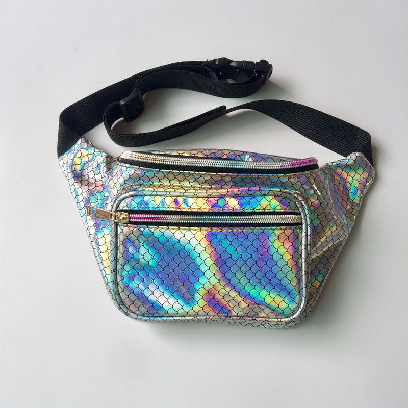 12 colors laser waist bag shoulder bag hologram fanny pack belt bag sac banane Reflective heuptas money belt waist pack purse holographic belt purse