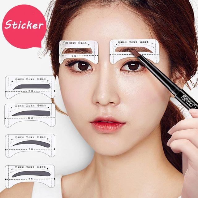 8 pairs/pack Eyebrow Stencils Template Stickers Make Up Tools Perfilado Cejas Drawing Card Sobrancelha Adesivo Maquiagem 3