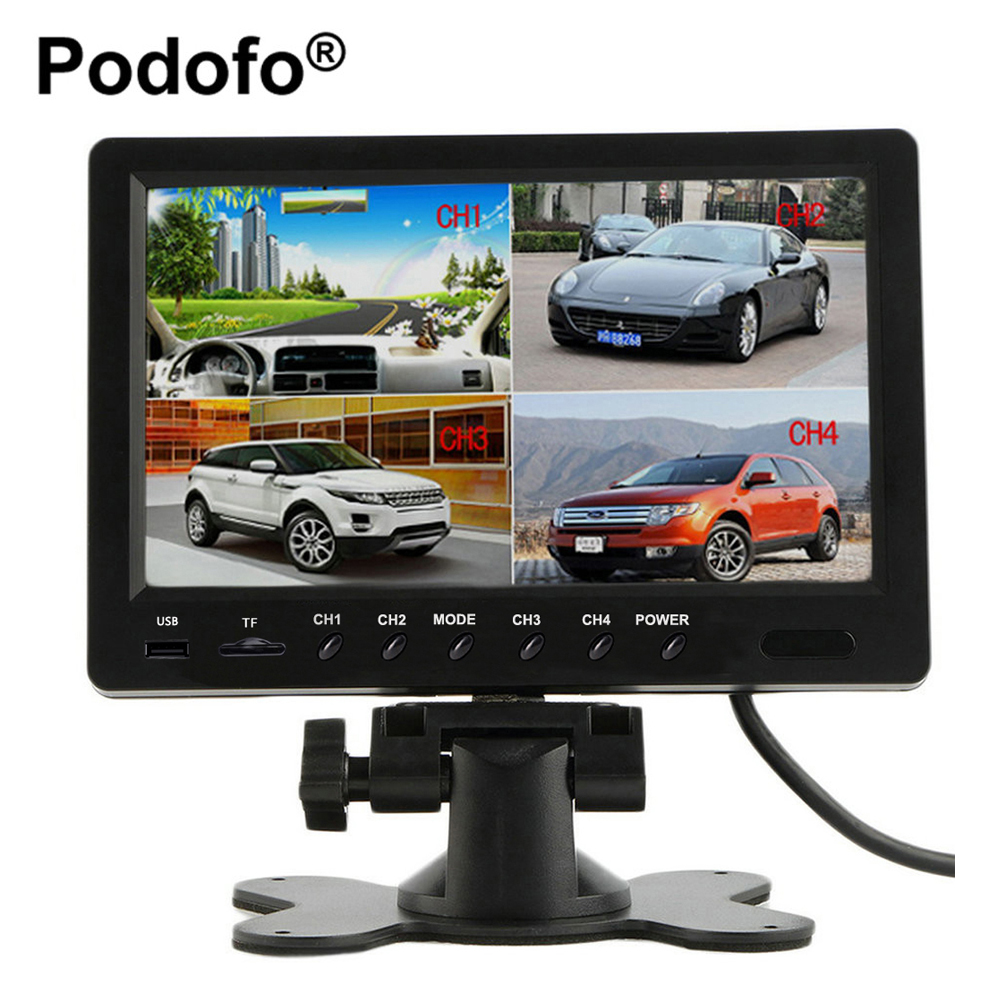 9 дюймов quad Разделение Мониторы Видео TFT Дисплей автомобиля резервную Мониторы встроенный DVR Поддержка Micro SD карты Запись парковка Мониторы ...