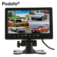 9 Inch Quad Split Monitor Video TFT Display Car Backup Monitor Built in DVR Support Micro SD Card Recording Parking Monitoring