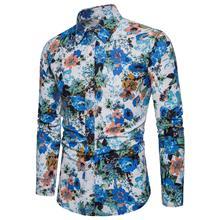 Hawaiian Shirt Men Flower Casual Dress Summer Floral Blouse Mens clothing Long sleeve New