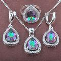 Multicolor Arco Iris de Las Mujeres Zirconia 925 de Plata Gota de agua Sistemas de La Joyería Collar Colgante Pendientes Anillos Envío Gratis TZ030