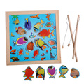 Kids Wooden puzzle educational toy fun child Baby magnetic fishing toys for children fishing game DT6560