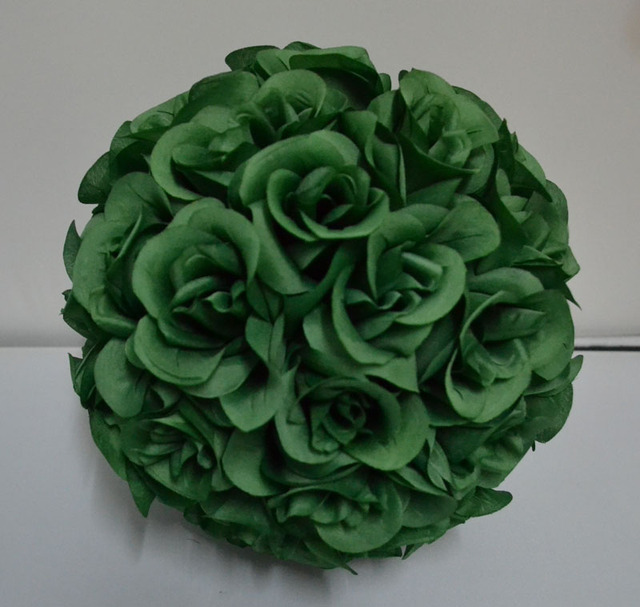 10 Pack Of Leaf Green Color Kissing Silk Rose Flower Ball Wedding Centerpieces