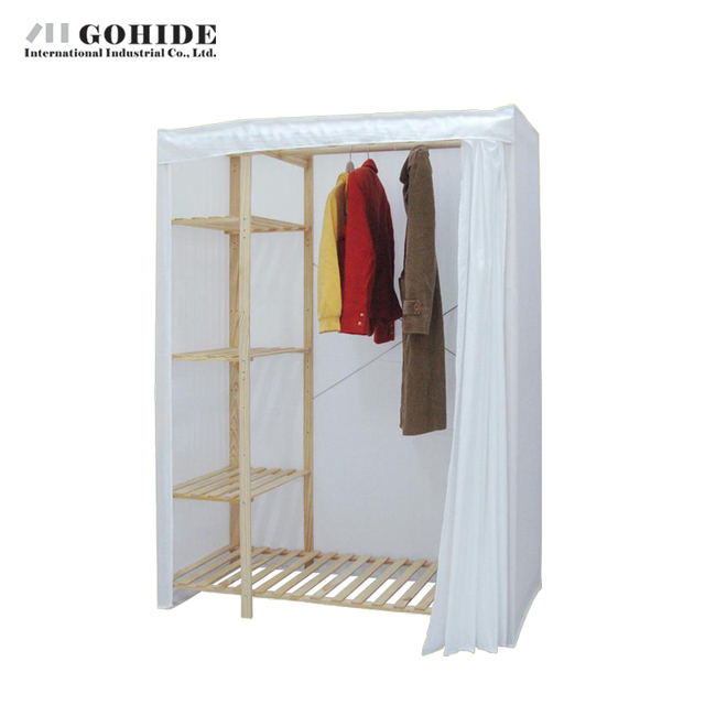 Gohide 117cm Double Hanging Closet Oxford Fabric Curtain Simple Wardrobe 751lj Lockers To Storage Clothes
