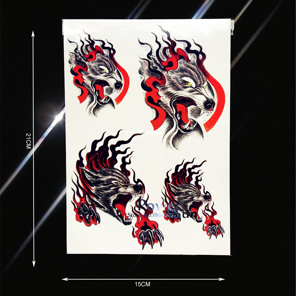 1PC Cool Men Women Body Back Art Temporary Tattoo Bloody Wolf Paw Fire Design Waterproof Leg Decals Fake Tattoo Stickers PHB312