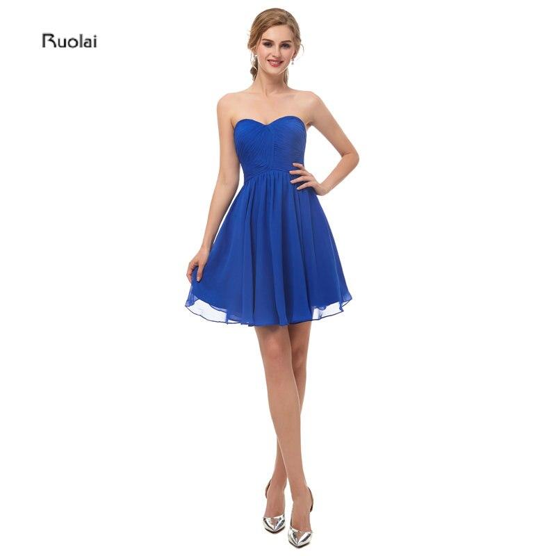 In Stock Real Sample Royal Blue   Bridesmaid     Dress   2019 Chiffon Above Knee Sleeveless Wedding Guest   Dress   Maid Of Honor   Dress