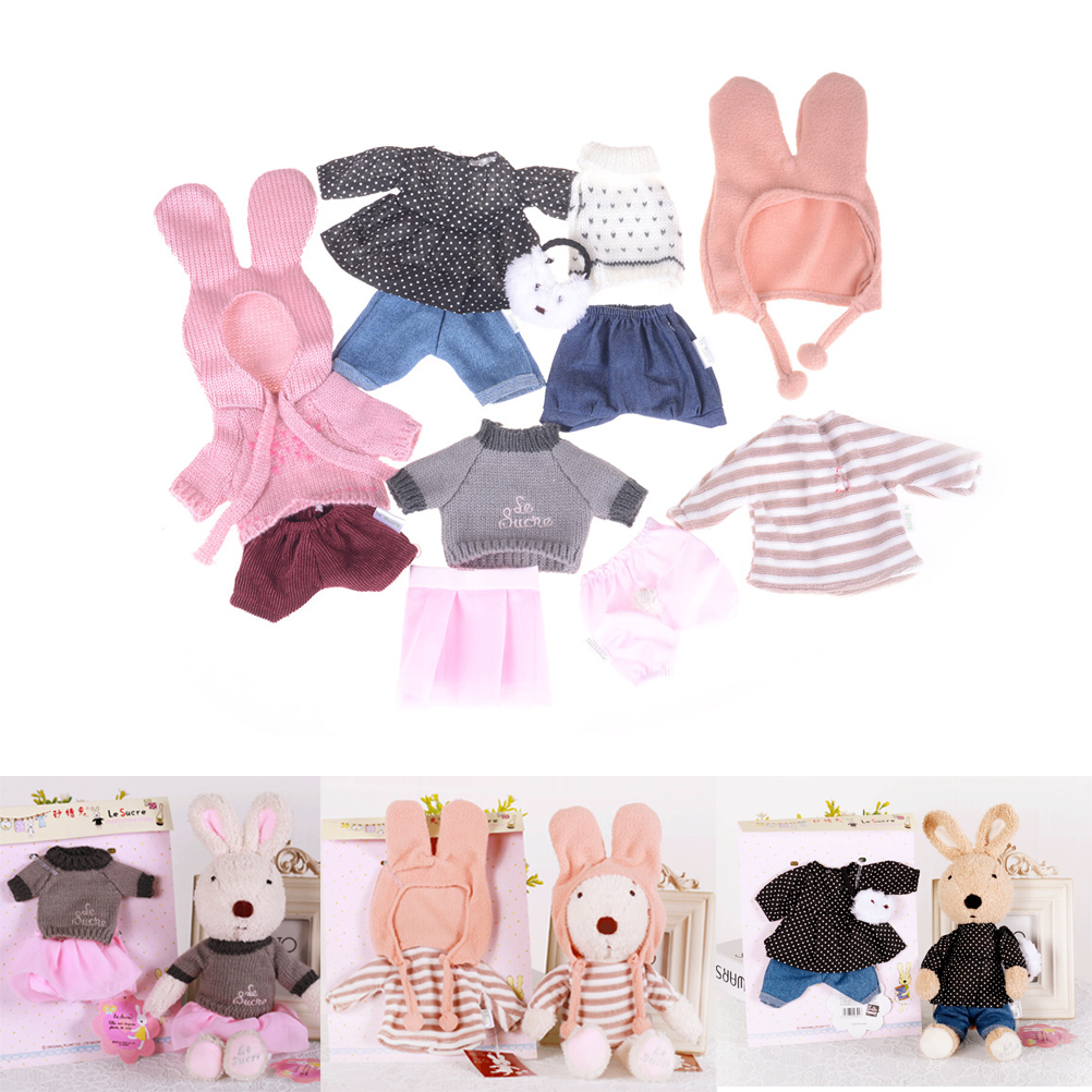 30cm Play House Doll Clothes for Bunny Rabbit Cat Plush Toys Soft Dress Skirt Sweater for