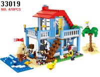 AIBOULLY 33019 470pcs My World City Mountain Hut Picnic 3in1 House Lele Building Block Compatible 7346 Brick Toy