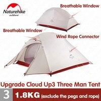 Naturehike обновление CloudUp3 палатка 20D силиконовый Двухслойный 3 человека Сверхлегкий портативный алюминиевый полюс кемпинг палатка NH18T030-T