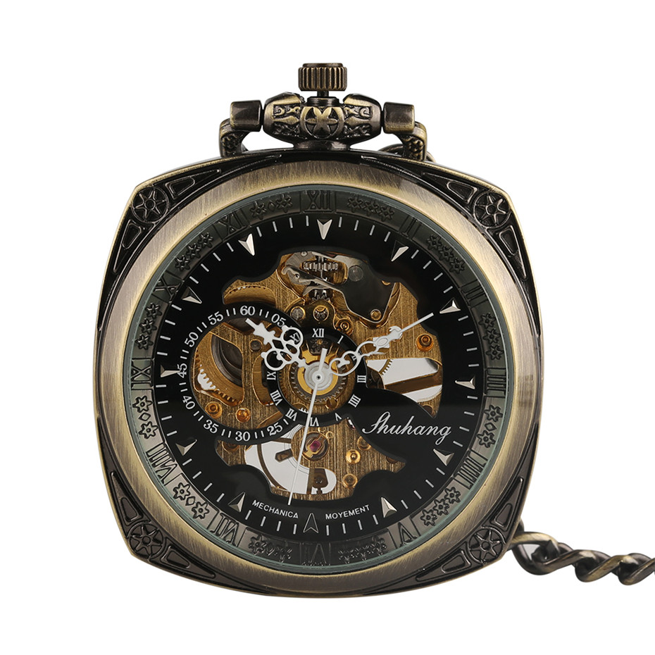 Vintage Bronze Square Men Pocket Watch Delicate Carved Case Retro Steampunk Fob Mechanical Hand Wind Clock Chain Necklace vintage watch necklace steampunk men mechanical fob pocket watch clock pendant hand winding male female chain gifts