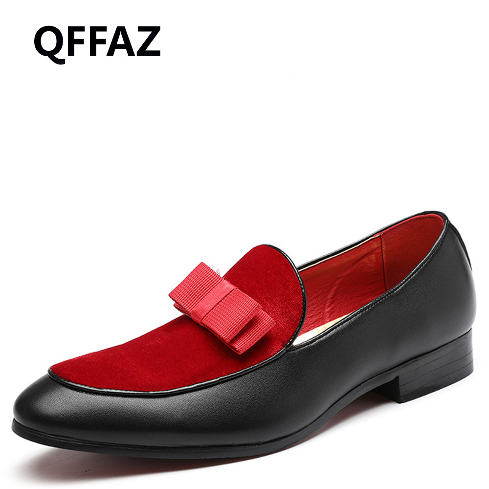 QFFAZ Gentlemen Bowknot Wedding Dress Male Flats Casual Slip on Shoes Black Patent Leather Red Suede Loafers Men Formal Shoes