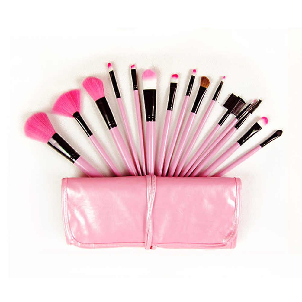 15 pcs ורוד איפור מברשות עם רול תיק קייס קרן אבקת גבות שפתון מברשות pincel maquiagem יופי מברשות קיט