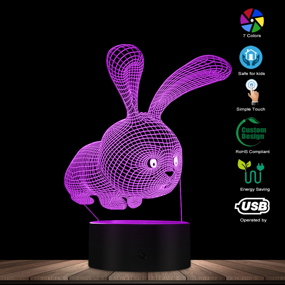 Rabbit Animals 3D Acrylic Night Lamp Modern Girl Night Light Bunny Rabbit LED Table Lighting Girl Room Decor Rabbit Party Favors