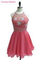 Красивые Короткие Кристаллы партии девушки платья Платья для женщин 2017 Мини Холтер спинки шифон коктейльное платье индивидуальный заказ