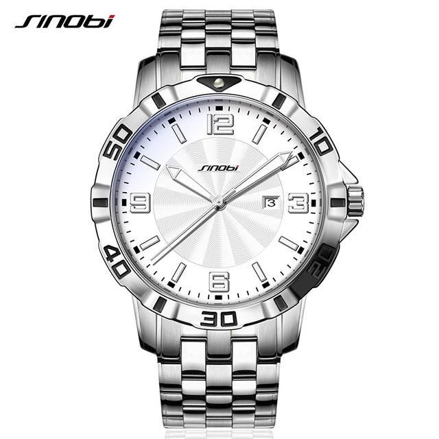 df6f0ec7a59 10bar SINOBI Cronógrafo Relógios para Genebra Relógio de Pulso Dos Homens  De Aço À Prova D