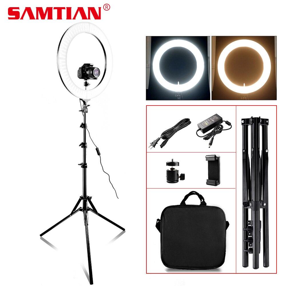 SAMTIAN RL-18A Anneau LED Lumière Bi-couleur 3200 k-5500 k 512 LED Annulaire Lampe Pour Studio Vidéo photo Maquillage Photographie YouTube