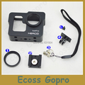 Gopro Protective Case Gopro hero 3 CNC Aluminum Alloy  Protective Case Mount With 37MM UV Len For Gopro Accessories