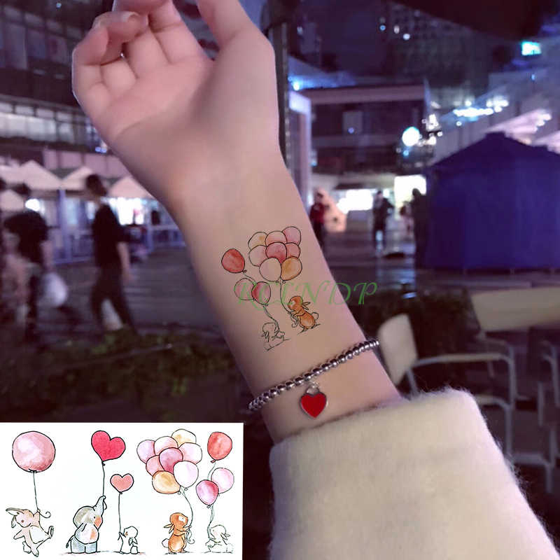 Etiqueta Do Tatuagem Temporária à prova d' água Coelho Elefante balão Flash Tatoo Falso Tatto braço Pulso Pé mão Para A Menina Das Mulheres Dos Homens crianças