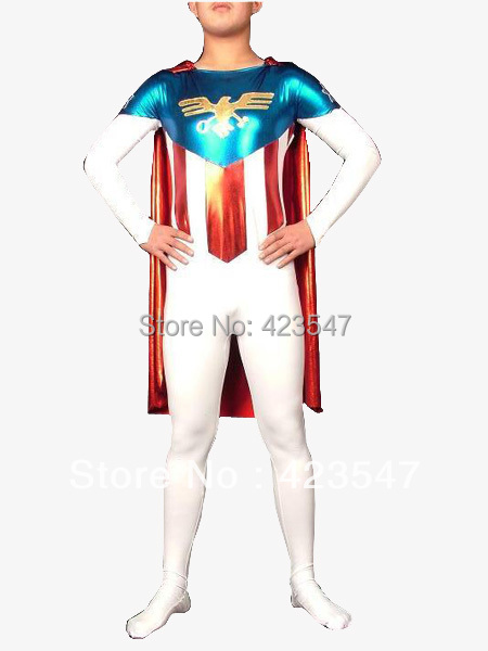 White  Blue Red Hawk Emblem Halloween Party Cosplay Superhero Costume