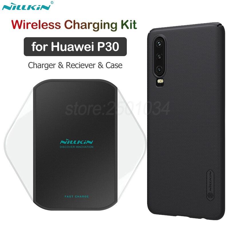 Nillkin Qi Sans Fil De Charge pour Huawei P30 Kit Sans Fil Chargeur + USB C Type C récepteur de charge + Givré PC étui pour Huawei P30