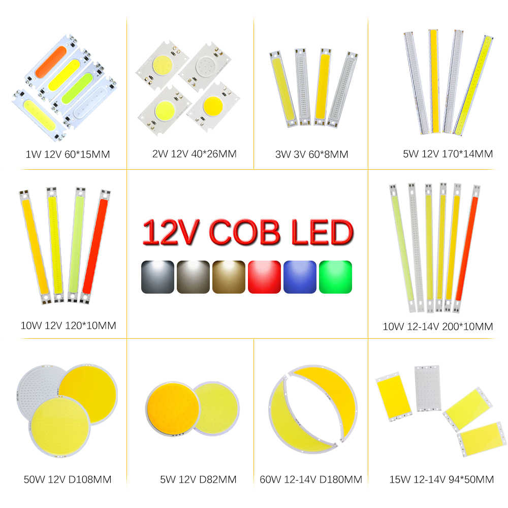 COB LED Bulb Strip Chip 12V Led Board Lighting Source Car Light DIY Lightbulb 5W 10W 15W 50W 60W Warm White Red Blue Green JQ0