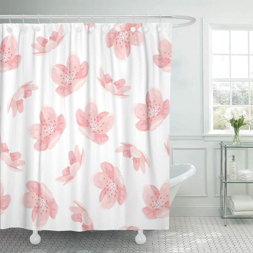Shower Curtain With Hooks Floral Pink Cherry Sakura Japanese