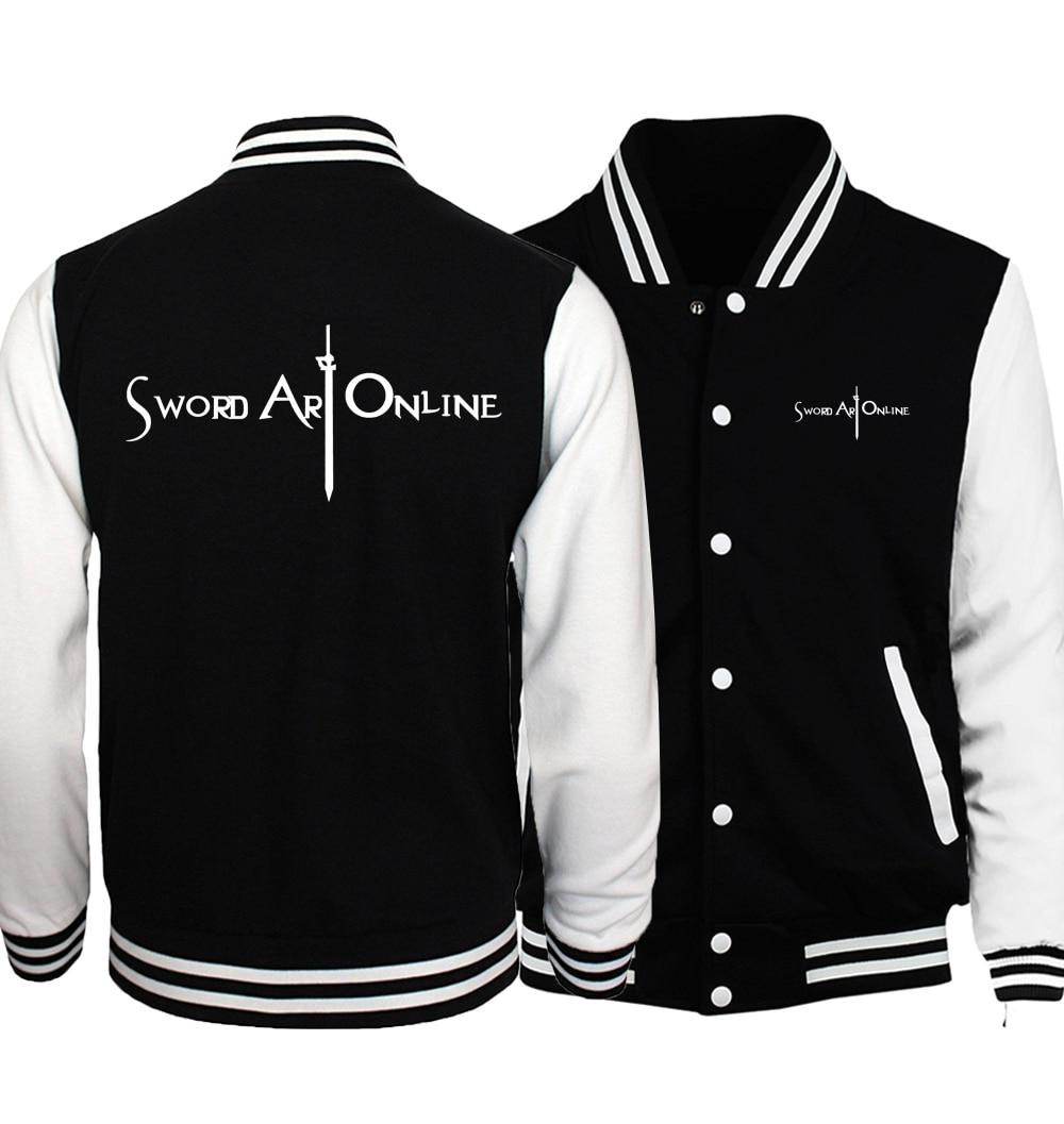 Anime Sword Art Online S.A.O 재킷 남자 2017 봄 패션 남자 코트 고품질의 야구 유니폼 재킷 슬림 맞는 후드 남자