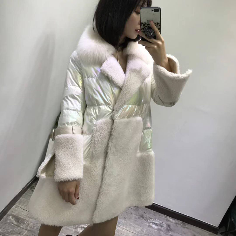 Real fur coat 2019 new plus size abrigos mujer invierno korean white down jacket skirt style parka real fox fur collar clothing