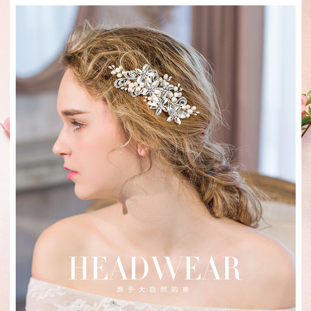 2016 vestido de Noiva Artesanal de Água Doce da Pérola de Cristal Nupcial Tiara Headband Headpiece Casamento Acessórios Para o Cabelo Pente de Cabelo Elegante